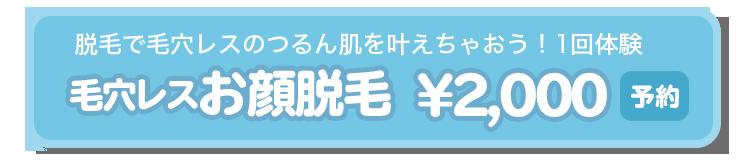 毛穴レスお顔脱毛¥2,000