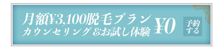 月額3100円脱毛カウンセリング&お好きな2箇所脱毛体験¥0